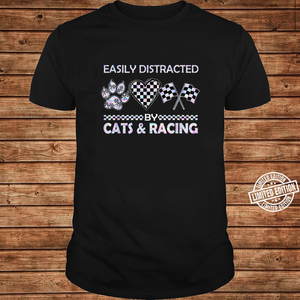 Easily Distracted By Cats And Racing Shirt long sleeved