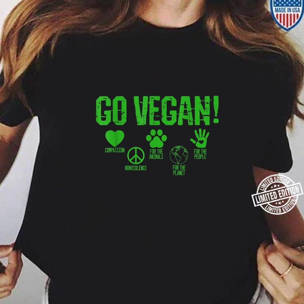 Go Vegan Compassion for Animals and Planet Vegan Earth Day Shirt ladies tee