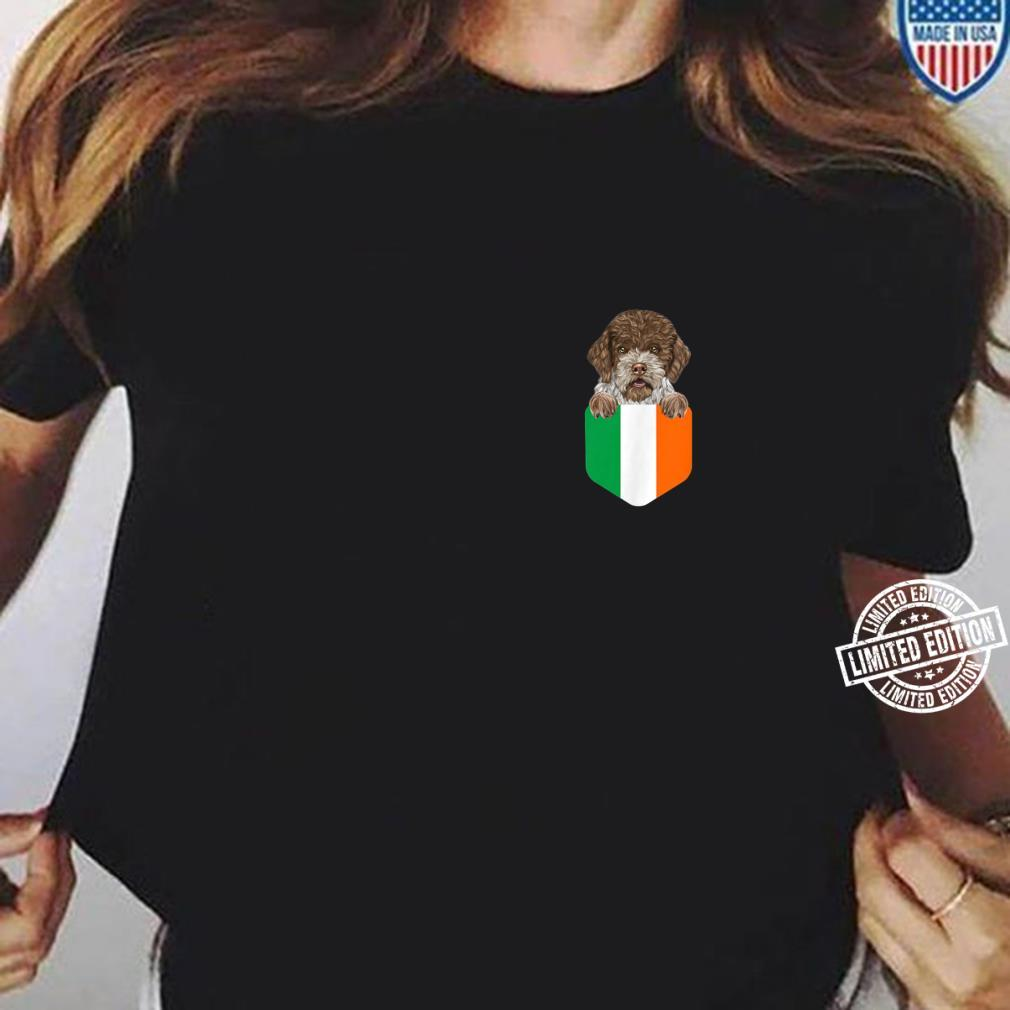 Ireland Flag Lagotti Romagnoli Dog In Pocket Shirt ladies tee