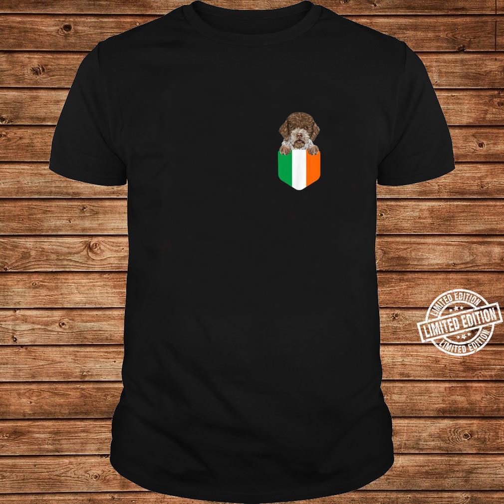 Ireland Flag Lagotti Romagnoli Dog In Pocket Shirt long sleeved