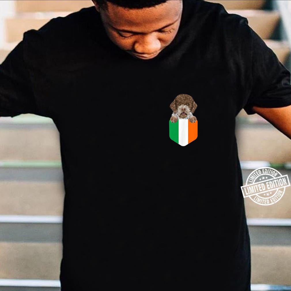 Ireland Flag Lagotti Romagnoli Dog In Pocket Shirt