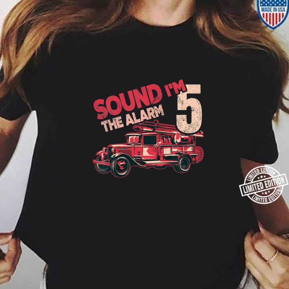 Kids Fire Truck 5th Birthday Boy Firefighter Five 5 Year Old Shirt ladies tee