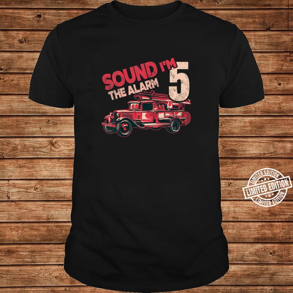 Kids Fire Truck 5th Birthday Boy Firefighter Five 5 Year Old Shirt long sleeved