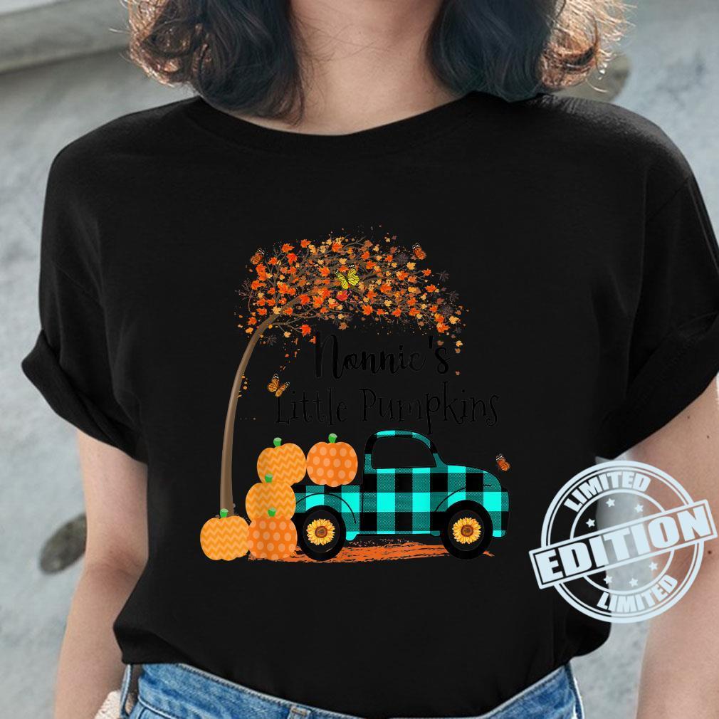 Nonnie 's Little Pumpkins Truck Green Plaid Autumn Art Shirt ladies tee
