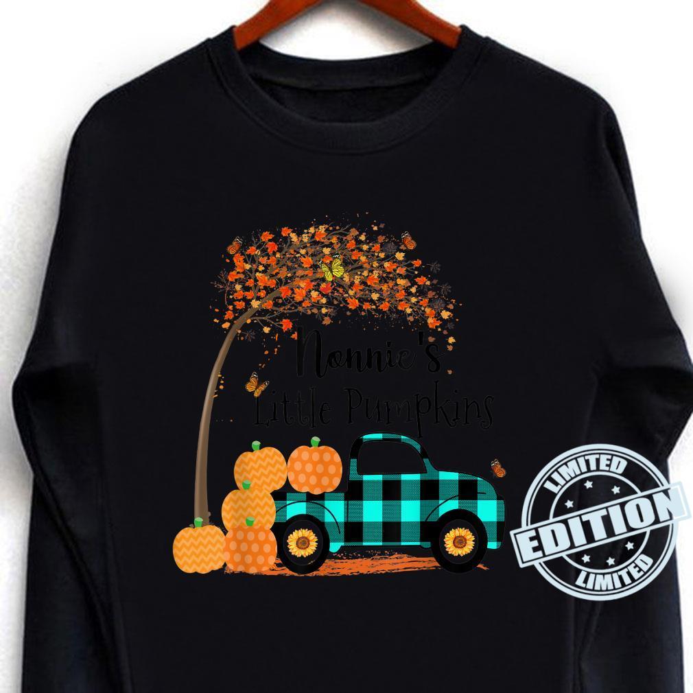 Nonnie 's Little Pumpkins Truck Green Plaid Autumn Art Shirt long sleeved