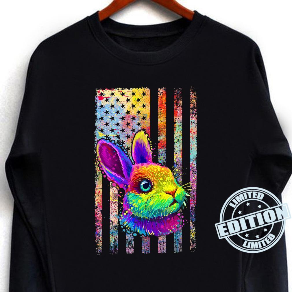 Patriotic Bunny American Flag Retro Pop Art Animal Shirt long sleeved