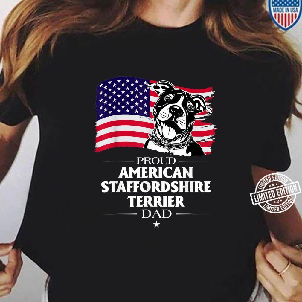 Proud American Staffordshire Terrier Dog Dad American Flag Shirt ladies tee