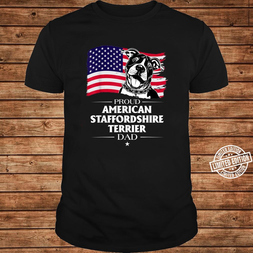 Proud American Staffordshire Terrier Dog Dad American Flag Shirt long sleeved