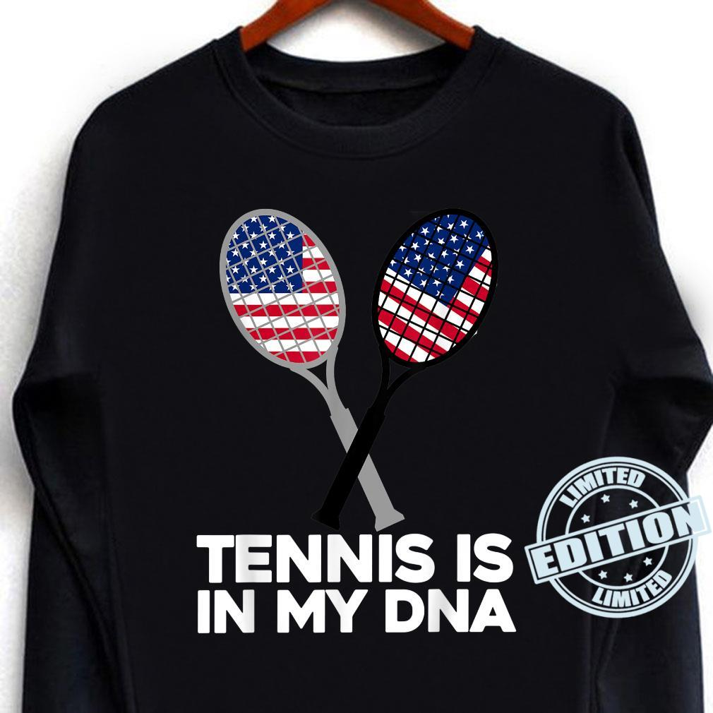 TENNIS IS IN MY DNA, American, USA Flag Sport Shirt long sleeved