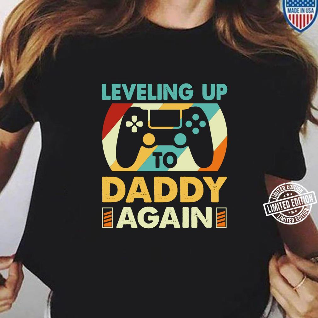Vintage Leveling Up To Daddy Again Promoted To Dad Again Shirt ladies tee