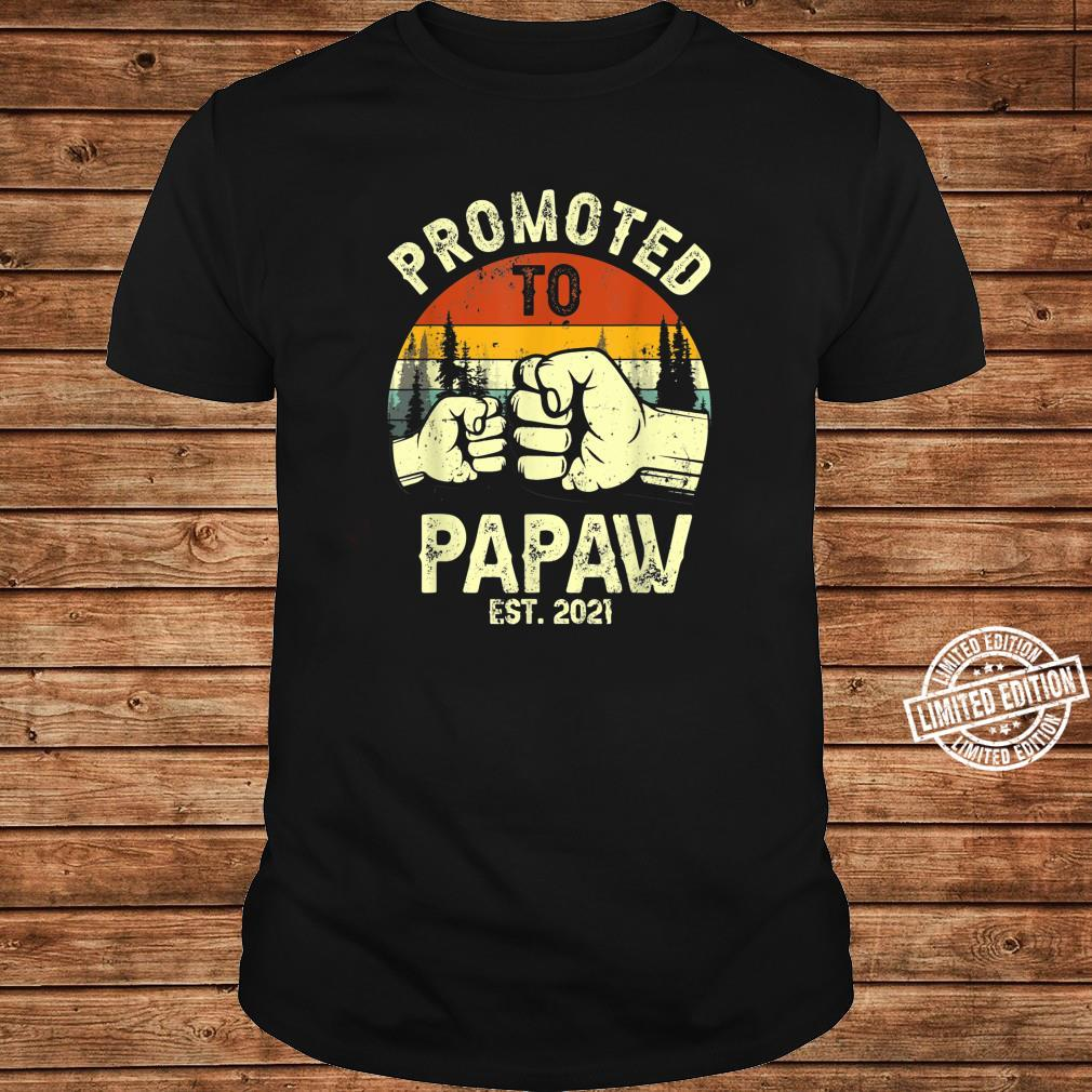 Vintage Promoted To Papaw Est 2021 Thanksgiving Shirt long sleeved