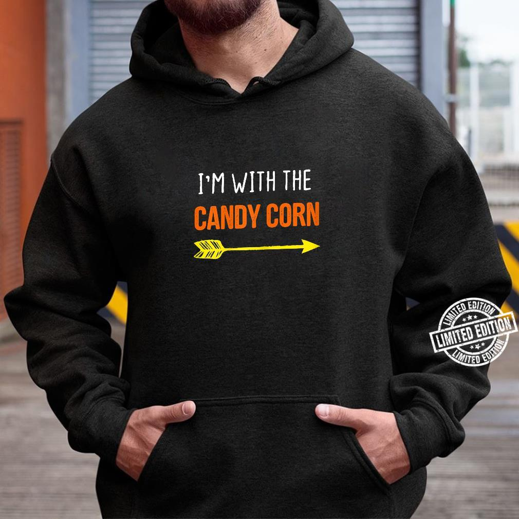 Womens I'm With The Candy Corn Costume Halloween Couple Shirt hoodie